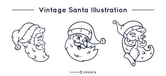 Vintage santa stroke set
