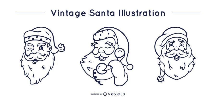 Vintage santa claus stroke set