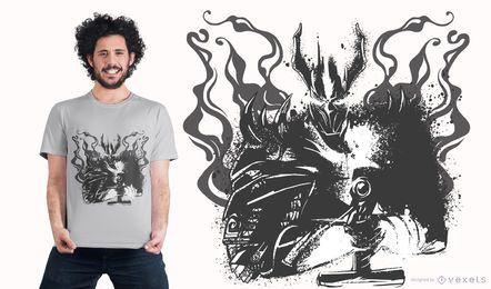 Diseño de camiseta de caballero ceniza