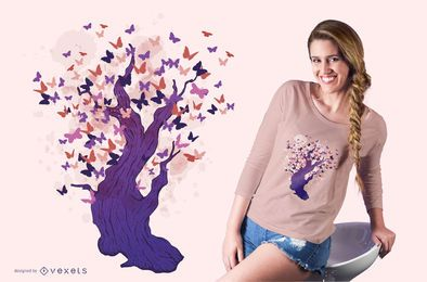 Butterfly tree t-shirt design