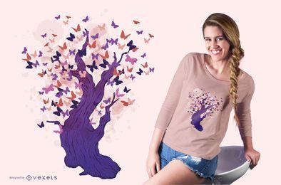 Design de t-shirt de árvore de borboleta