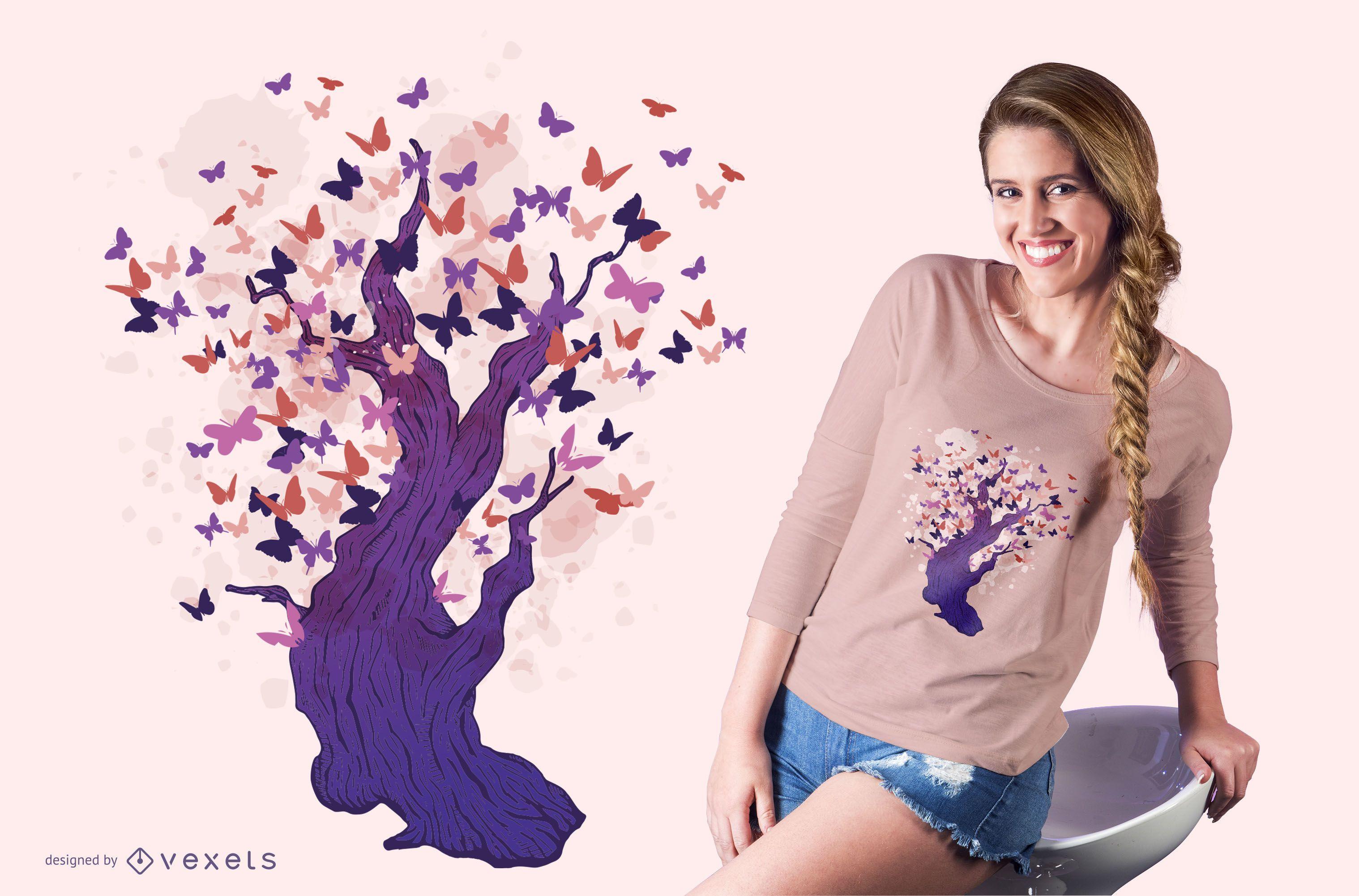 Butterfly tree t-shirt design