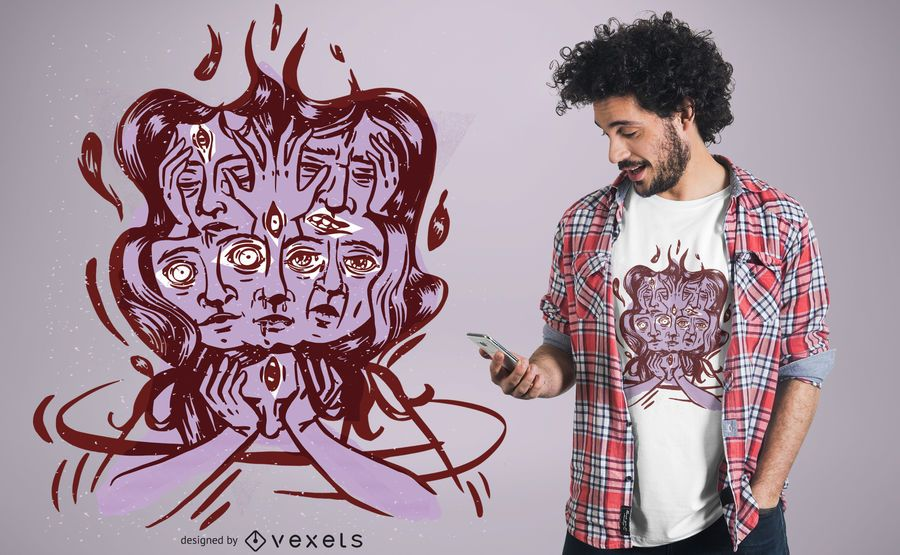 Diseño de camiseta con cabeza mareada