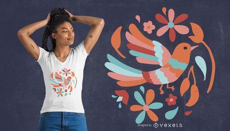 Diseño de camiseta de pájaro floral