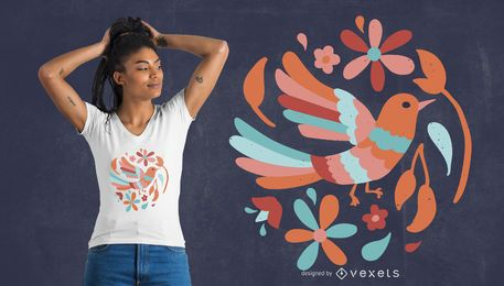 Floral bird t-shirt design