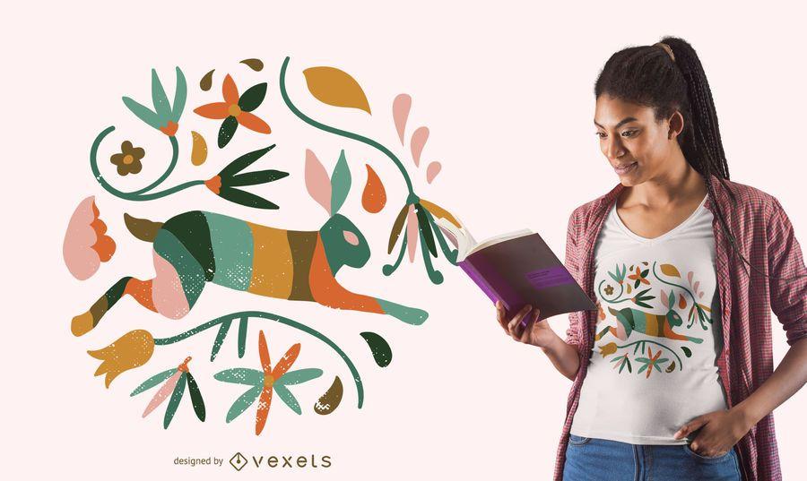 Diseño floral de camiseta de conejo