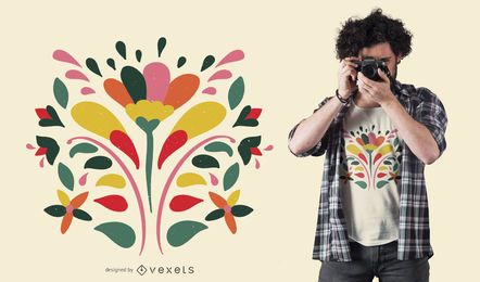 Diseño de camiseta de flores coloridas