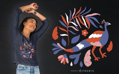 Diseño floral de camiseta de pavo real