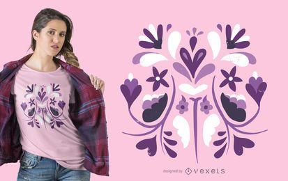 Diseño de camiseta floral