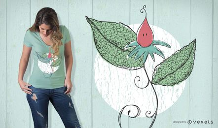 Diseño de camiseta de flores frágiles