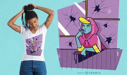 Design de t-shirt de menina de estilingue