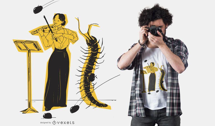 Diseño de camiseta de insecto violinista