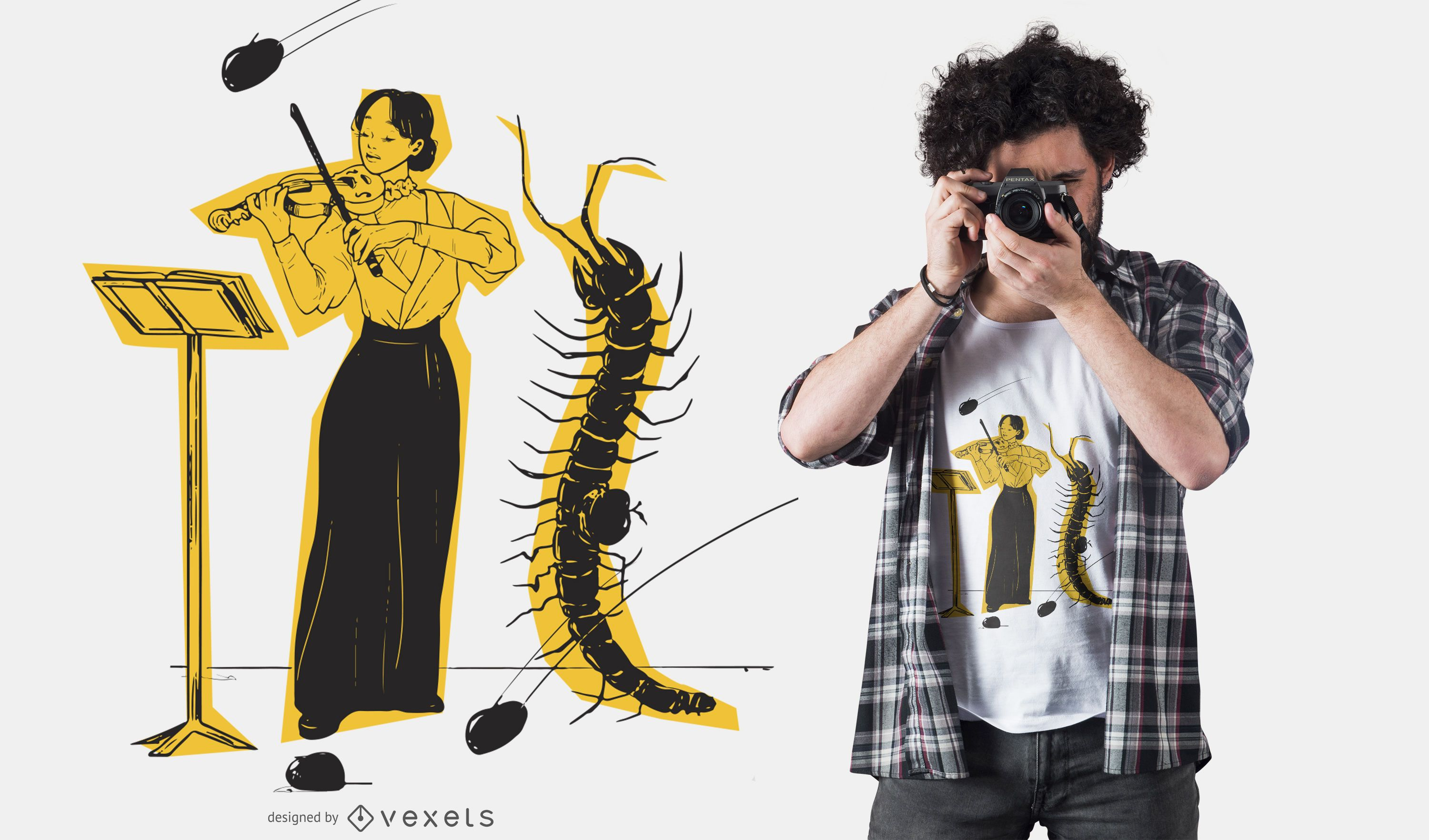 Violinist insect t-shirt design