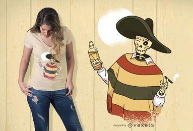 Diseño de camiseta de esqueleto mexicano