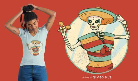 Diseño de camiseta de niña esqueleto mexicano