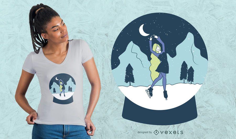 Diseño de camiseta de niña bola de nieve