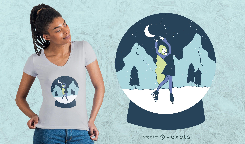 Dise?o de camiseta de ni?a bola de nieve.