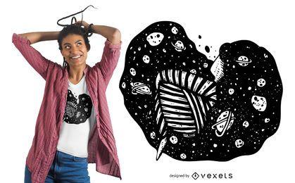 Diseño de camiseta de chica espacial