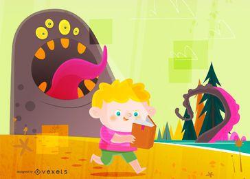 Projeto de ilustração de menino e monstro