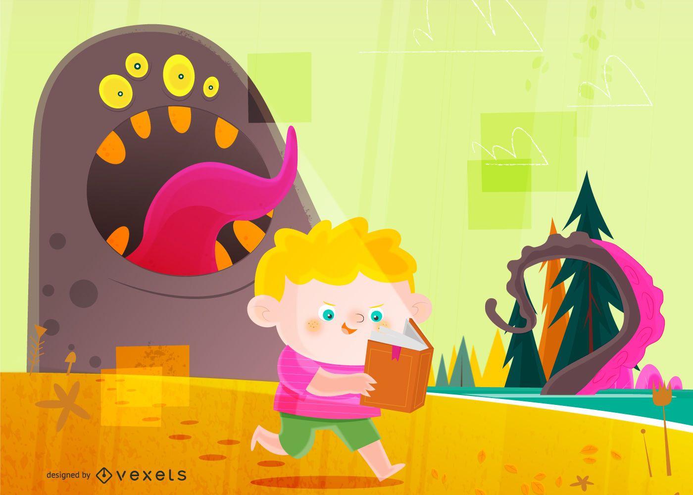 Boy and Monster Illustration Design