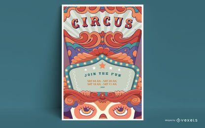 Diseño de cartel de circo de texto editable