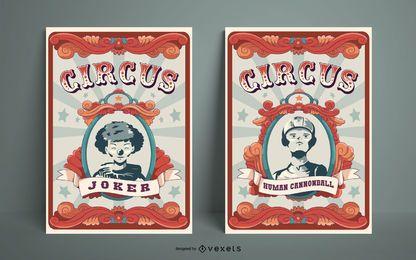 Conjunto de design de cartaz de circo