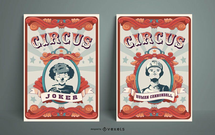 Circus Poster Design Set