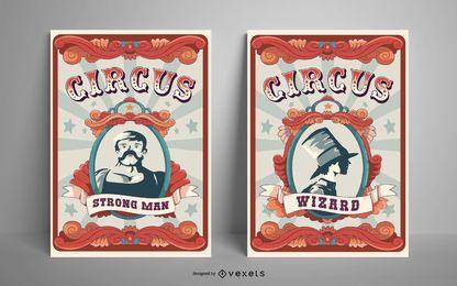 Paquete de diseño de carteles de circo