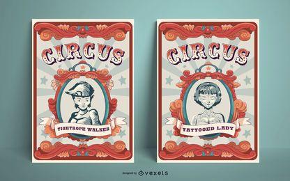 Conjunto de diseño de carteles de circo vintage