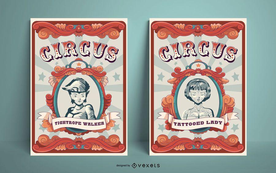 Conjunto de design de cartaz de circo vintage