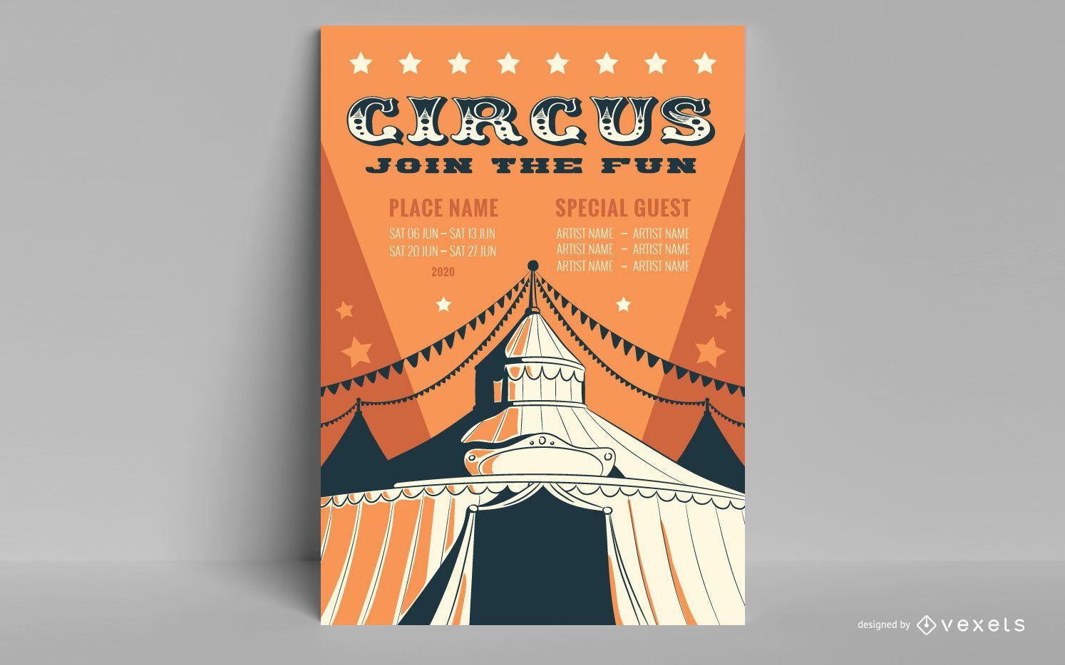 Cartel de circo vintage editable
