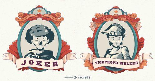 Conjunto de banner vintage de atracción de circo