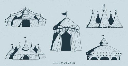 Conjunto de design de tendas de circo