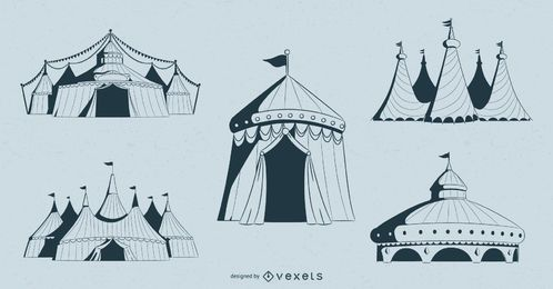 Conjunto de diseño de carpas de circo