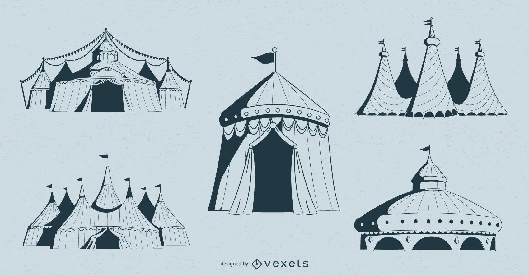 Circus Tents Design Set