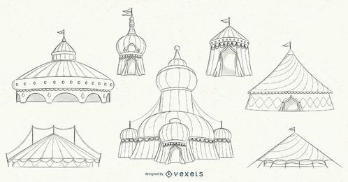 Conjunto de diseño de trazo de carpa de circo