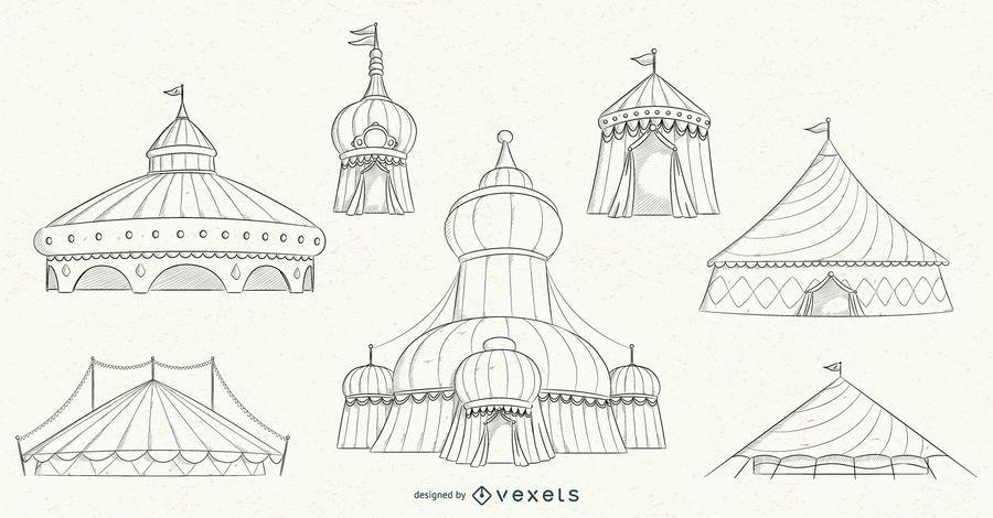 Circus Tent Stroke Design Set