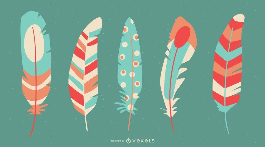 Conjunto de plumas de colores