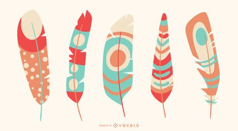 Colorful feathers vector set