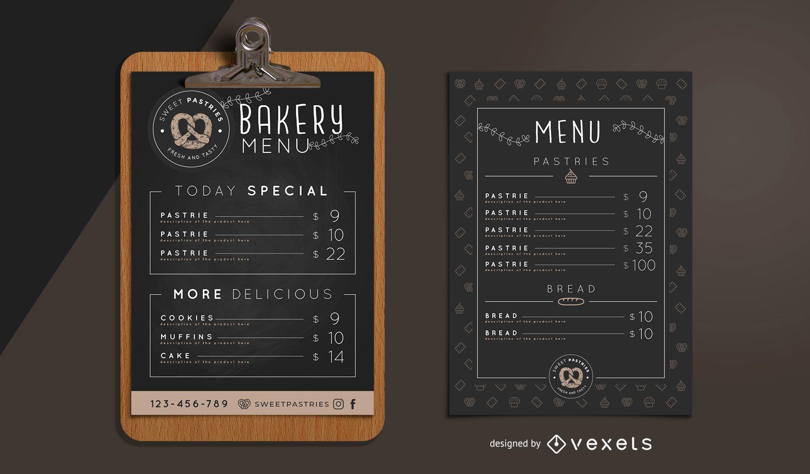 Plantilla de diseño de menú de panadería