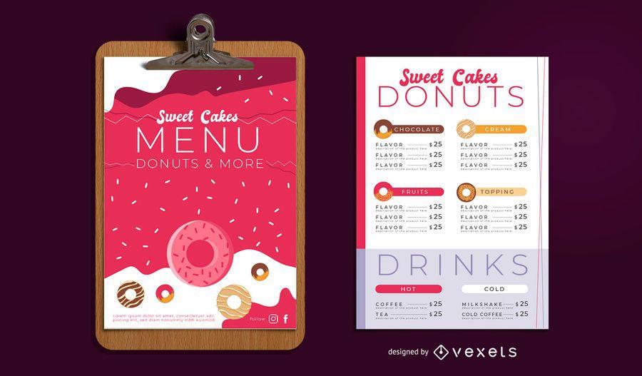 Conjunto de diseño de menú de panadería