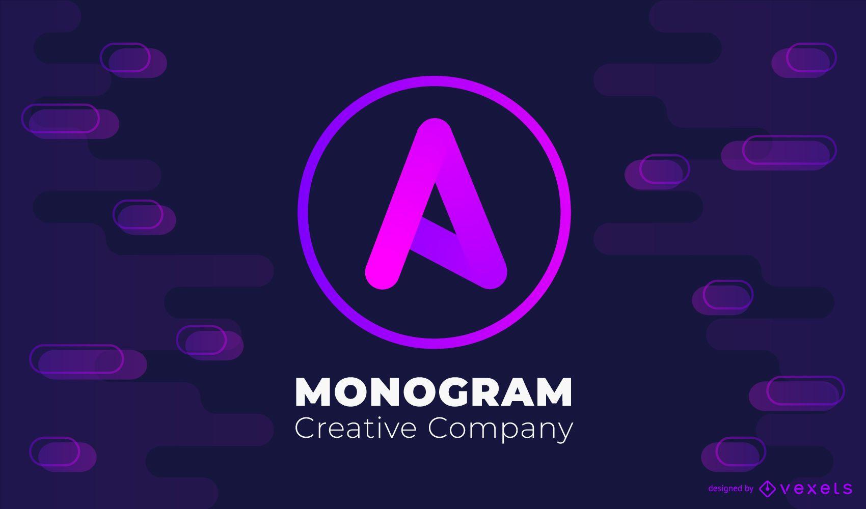 Design de logotipo com monograma gradiente