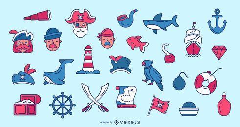 Coleção de ícones de pirata