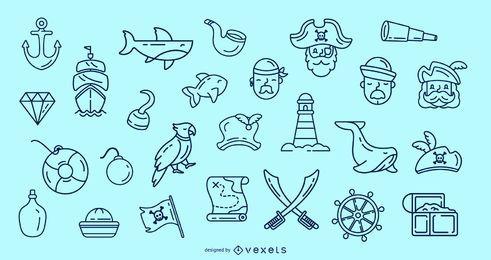 Colección de iconos de trazo pirata