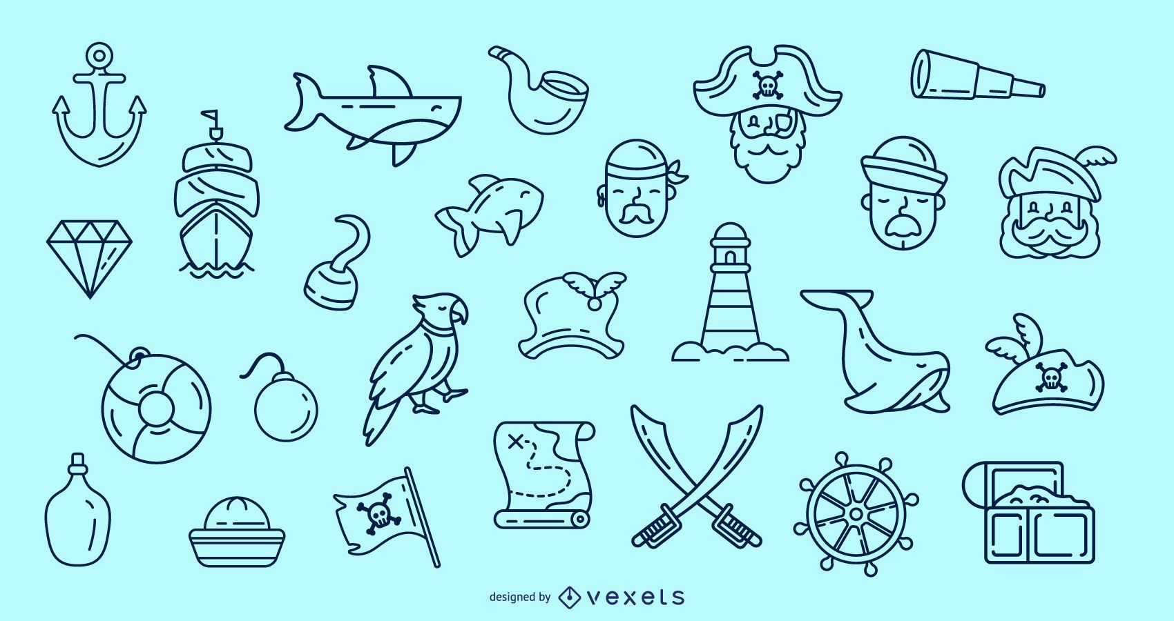 Pirate stroke icon collection