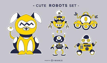 Conjunto de vetores de robôs fofos
