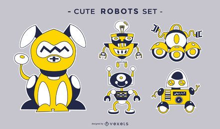 Cute robots vector set