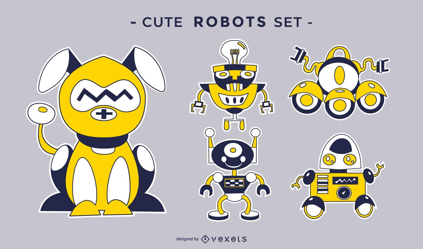 Cute robots vector set