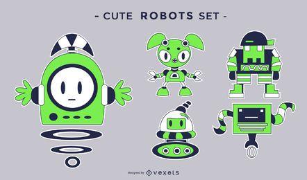 Conjunto de robots lindos