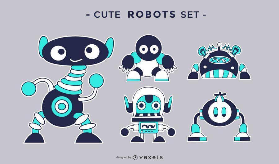 Cute robots flat set